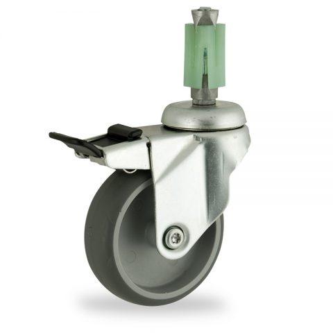 Stahlblech lenkrolle mit totalfeststeller 150mm für lichtwagen,rader aus grau thermoplasticher gummi,gleitlager.Montage mit quadratische expander 27/31