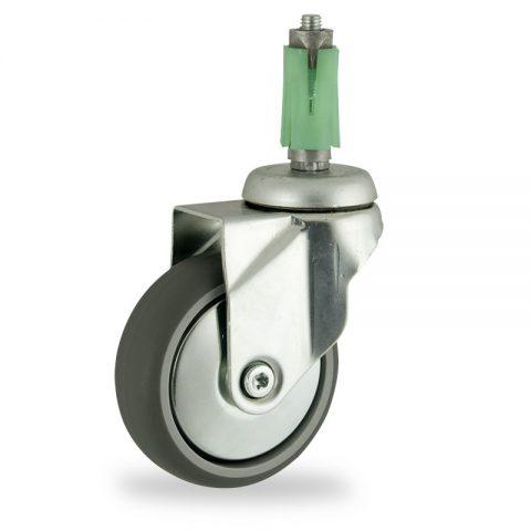 Stahlblech lenkrolle 125mm für lichtwagen,rader aus grau thermoplasticher gummi,gleitlager.Montage mit quadratische expander 21/24