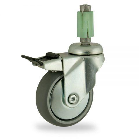 Stahlblech lenkrolle mit totalfeststeller 125mm für lichtwagen,rader aus grau thermoplasticher gummi,gleitlager.Montage mit quadratische expander 31/35