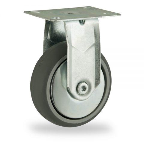 Stahlblech bockrolle 125mm für lichtwagen,rader aus grau thermoplasticher gummi,gleitlager.Montage mit platte
