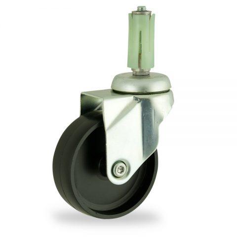 Stahlblech lenkrolle 100mm für lichtwagen,rader aus polypropylen,gleitlager.Montage mit runde expander 26/30