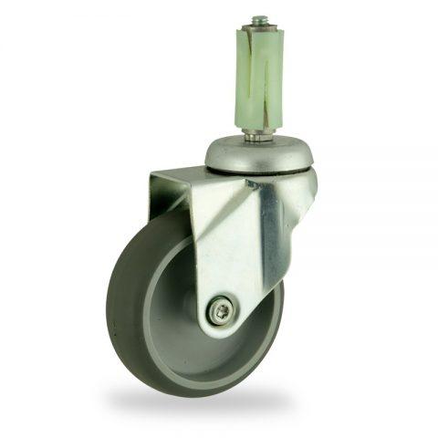 Stahlblech lenkrolle 100mm für lichtwagen,rader aus grau thermoplasticher gummi,gleitlager.Montage mit runde expander 23/26