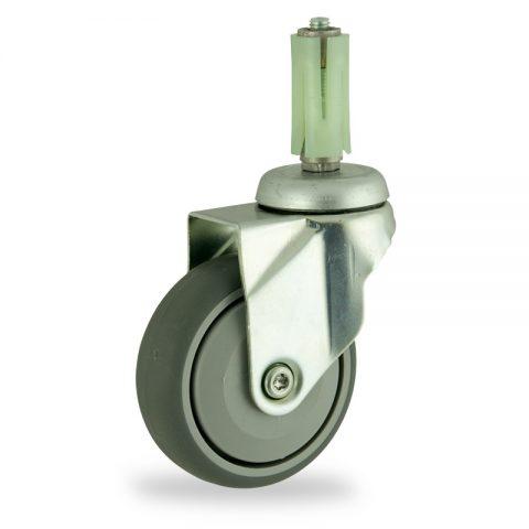 Stahlblech lenkrolle 125mm für lichtwagen,rader aus grau thermoplasticher gummi,prazisionskugellager.Montage mit runde expander 26/30