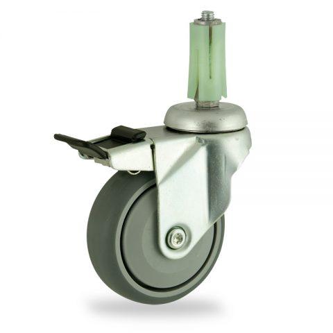 Stahlblech lenkrolle mit totalfeststeller 75mm für lichtwagen,rader aus grau thermoplasticher gummi,prazisionskugellager.Montage mit runde expander 19/23