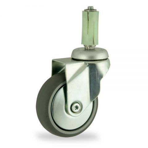 Stahlblech lenkrolle 125mm für lichtwagen,rader aus grau thermoplasticher gummi,konuskugellager.Montage mit runde expander 23/26