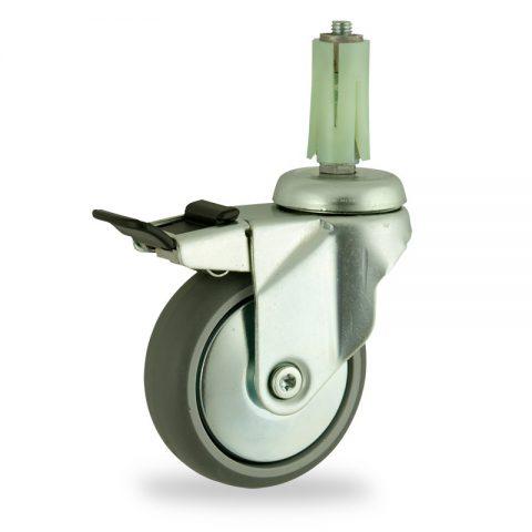 Stahlblech lenkrolle mit totalfeststeller 75mm für lichtwagen,rader aus grau thermoplasticher gummi,konuskugellager.Montage mit runde expander 19/23