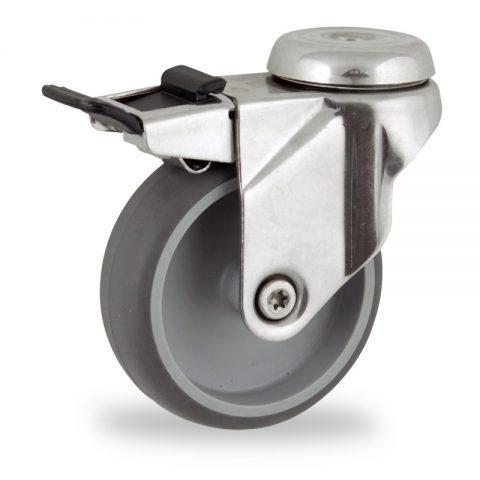 Edelstahl lenkrolle mit totalfeststeller 125mm für lichtwagen,rader aus grau thermoplasticher gummi,gleitlager.Montage mit rückenloch