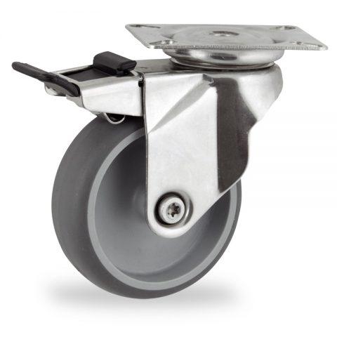 Edelstahl lenkrolle mit totalfeststeller 125mm für lichtwagen,rader aus grau thermoplasticher gummi,gleitlager.Montage mit platte