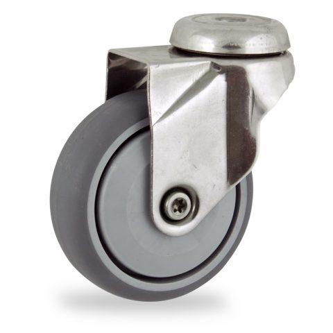 Edelstahl lenkrolle 125mm für lichtwagen,rader aus grau thermoplasticher gummi,prazisionskugellager.Montage mit rückenloch