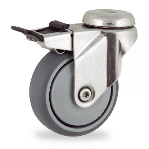 Edelstahl lenkrolle mit totalfeststeller 125mm für lichtwagen,rader aus grau thermoplasticher gummi,prazisionskugellager.Montage mit rückenloch