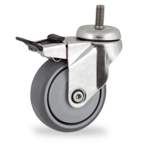 Edelstahl lenkrolle mit totalfeststeller 75mm für lichtwagen,rader aus grau thermoplasticher gummi,prazisionskugellager.Montage mit gewindestift