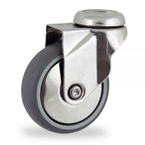 Edelstahl lenkrolle 100mm für lichtwagen,rader aus grau thermoplasticher gummi,gleitlager.Montage mit rückenloch