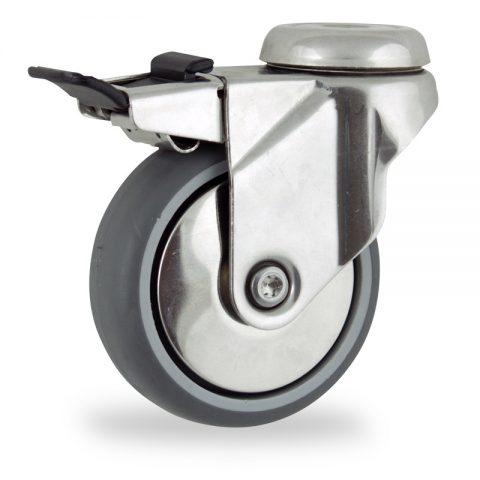 Edelstahl lenkrolle mit totalfeststeller 75mm für lichtwagen,rader aus grau thermoplasticher gummi,gleitlager.Montage mit rückenloch