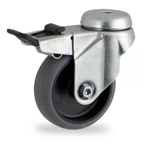 Stahlblech lenkrolle mit totalfeststeller 50mm für lichtwagen,rader aus grau thermoplasticher gummi,gleitlager.Montage mit rückenloch