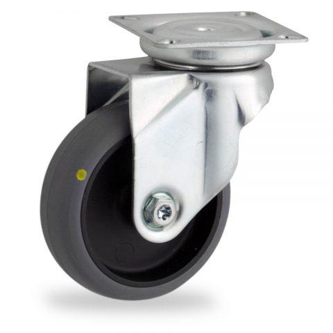 Stahlblech lenkrolle 75mm für lichtwagen,rader aus elektrisch leitfahig grau thermoplasticher gummi,gleitlager.Montage mit platte