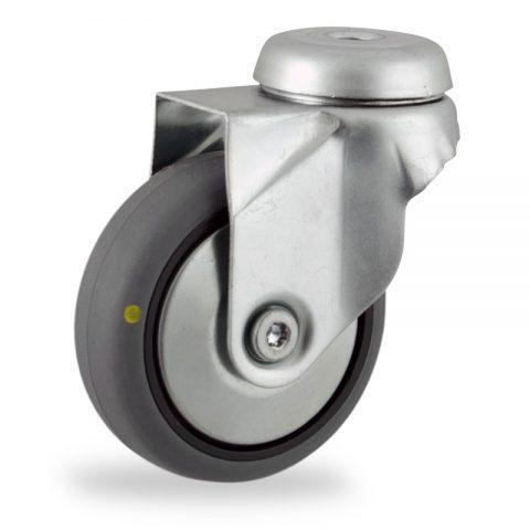 Stahlblech lenkrolle 50mm für lichtwagen,rader aus elektrisch leitfahig grau thermoplasticher gummi,gleitlager.Montage mit rückenloch