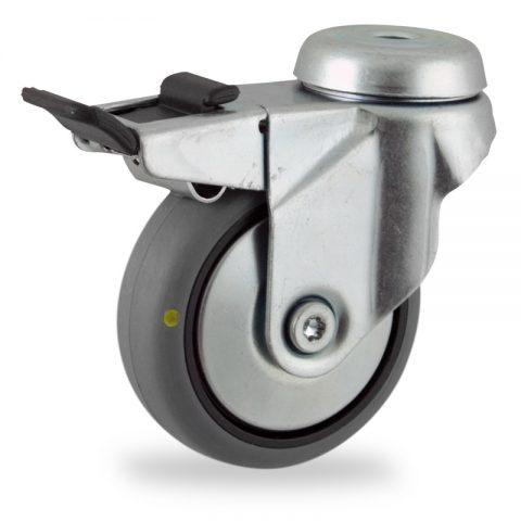 Stahlblech lenkrolle mit totalfeststeller 75mm für lichtwagen,rader aus elektrisch leitfahig grau thermoplasticher gummi,konuskugellager.Montage mit rückenloch