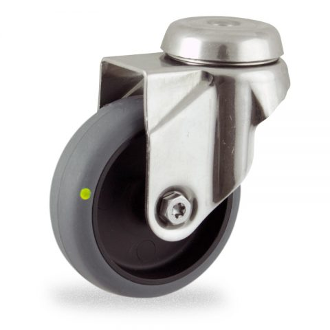 Edelstahl lenkrolle 50mm für lichtwagen,rader aus elektrisch leitfahig grau thermoplasticher gummi,gleitlager.Montage mit rückenloch