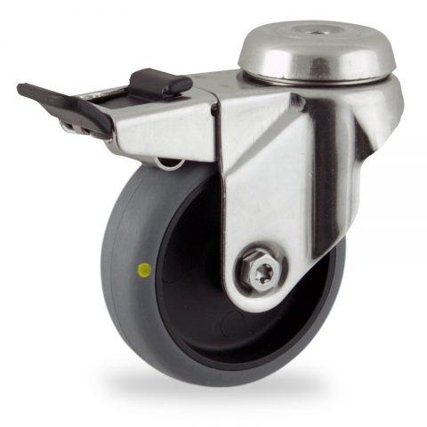 Edelstahl lenkrolle mit totalfeststeller 50mm für lichtwagen,rader aus elektrisch leitfahig grau thermoplasticher gummi,gleitlager.Montage mit rückenloch