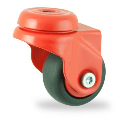 Farbig lenkrolle 50mm für lichtwagen,rader aus schwarz thermoplasticher gummi,gleitlager.Montage mit rückenloch