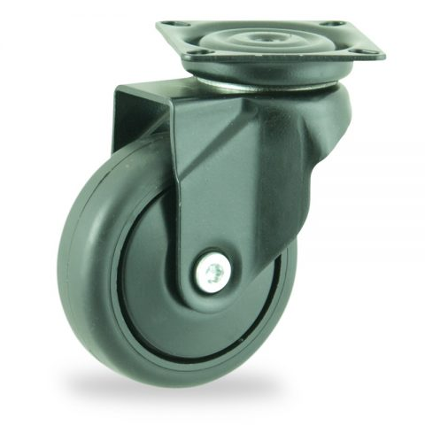 Farbig lenkrolle 75mm für lichtwagen,rader aus schwarz thermoplasticher gummi,gleitlager.Montage mit platte