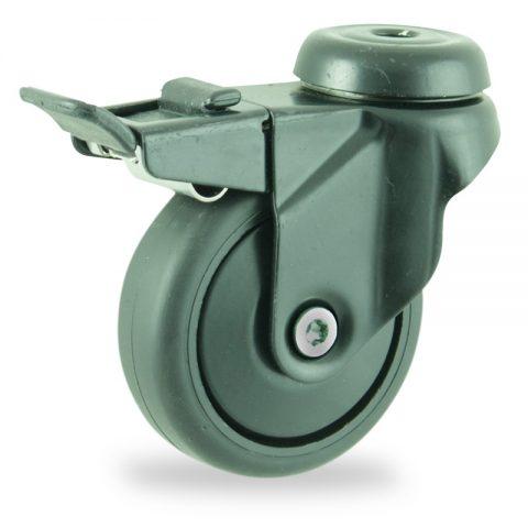 Farbig lenkrolle mit totalfeststeller 75mm für lichtwagen,rader aus schwarz thermoplasticher gummi,gleitlager.Montage mit rückenloch