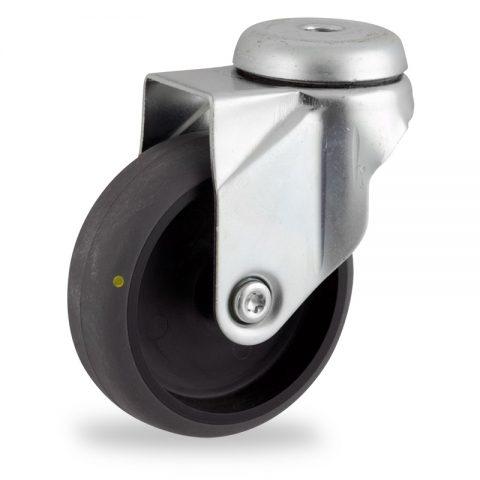Stahlblech lenkrolle 100mm für lichtwagen,rader aus elektrisch leitfahig grau thermoplasticher gummi,gleitlager.Montage mit rückenloch