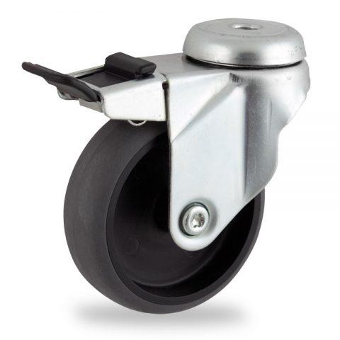 Stahlblech lenkrolle mit totalfeststeller 125mm für lichtwagen,rader aus elektrisch leitfahig grau thermoplasticher gummi,gleitlager.Montage mit rückenloch