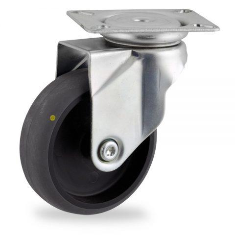 Stahlblech lenkrolle 125mm für lichtwagen,rader aus elektrisch leitfahig grau thermoplasticher gummi,gleitlager.Montage mit platte