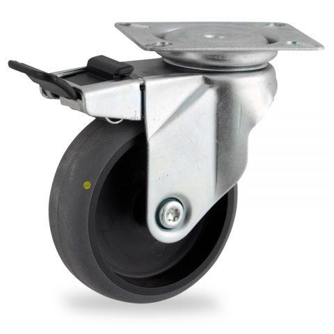 Stahlblech lenkrolle mit totalfeststeller 75mm für lichtwagen,rader aus elektrisch leitfahig grau thermoplasticher gummi,gleitlager.Montage mit platte