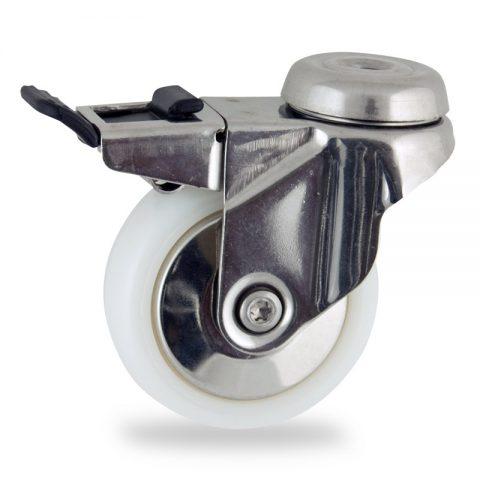 Edelstahl lenkrolle mit totalfeststeller 75mm für lichtwagen,rader aus polyamid,gleitlager.Montage mit rückenloch