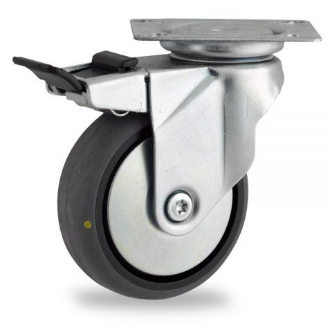 Stahlblech lenkrolle mit totalfeststeller 100mm für lichtwagen,rader aus elektrisch leitfahig grau thermoplasticher gummi,gleitlager.Montage mit platte