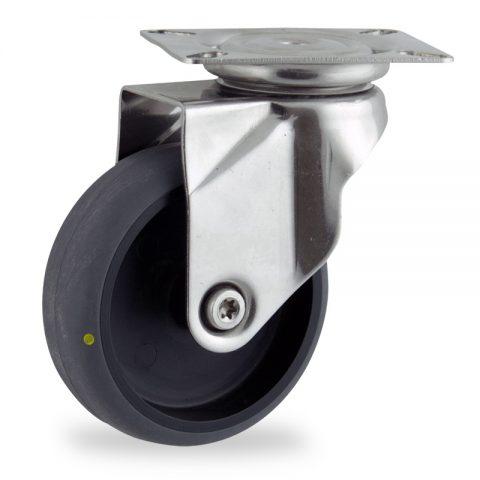 Edelstahl lenkrolle 125mm für lichtwagen,rader aus elektrisch leitfahig grau thermoplasticher gummi,gleitlager.Montage mit platte