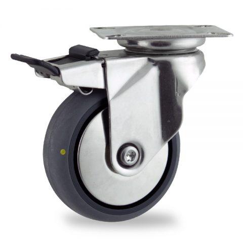 Edelstahl lenkrolle mit totalfeststeller 125mm für lichtwagen,rader aus elektrisch leitfahig grau thermoplasticher gummi,gleitlager.Montage mit platte
