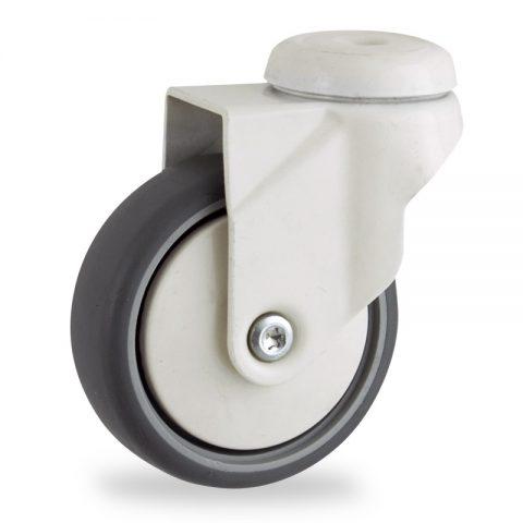 Farbig lenkrolle 100mm für lichtwagen,rader aus grau thermoplasticher gummi,gleitlager.Montage mit rückenloch