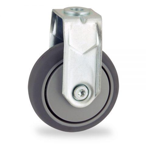 Stahlblech bockrolle 75mm für lichtwagen,rader aus grau thermoplasticher gummi,gleitlager.Montage mit rückenloch