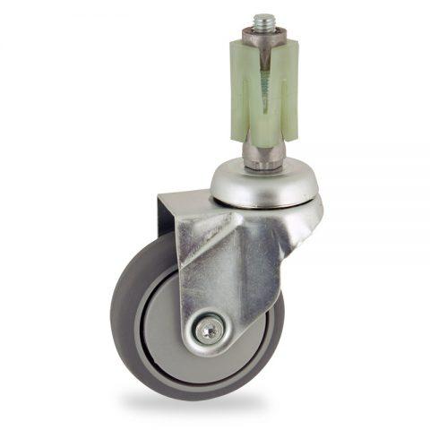 Stahlblech lenkrolle 75mm für lichtwagen,rader aus grau thermoplasticher gummi,gleitlager.Montage mit quadratische expander 21/24