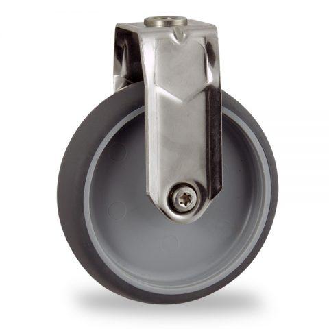 Edelstahl bockrolle 125mm für lichtwagen,rader aus grau thermoplasticher gummi,gleitlager.Montage mit rückenloch