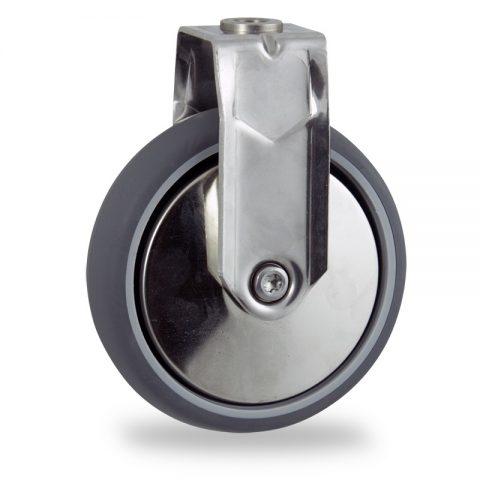 Edelstahl bockrolle 100mm für lichtwagen,rader aus grau thermoplasticher gummi,konuskugellager.Montage mit rückenloch