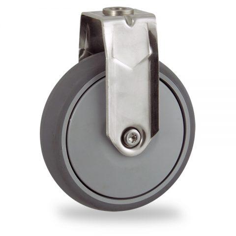 Edelstahl bockrolle 125mm für lichtwagen,rader aus grau thermoplasticher gummi,prazisionskugellager.Montage mit rückenloch