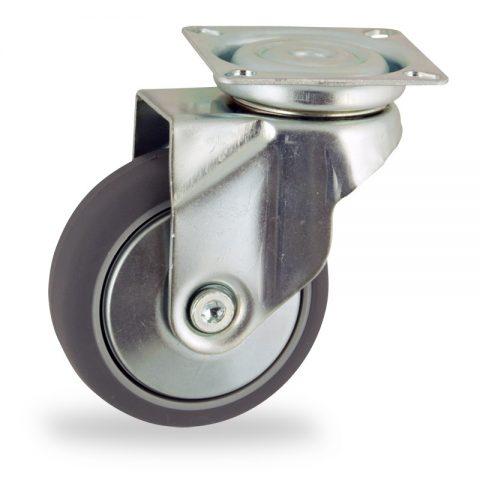 Stahlblech lenkrolle 75mm für lichtwagen,rader aus grau thermoplasticher gummi,gleitlager.Montage mit platte