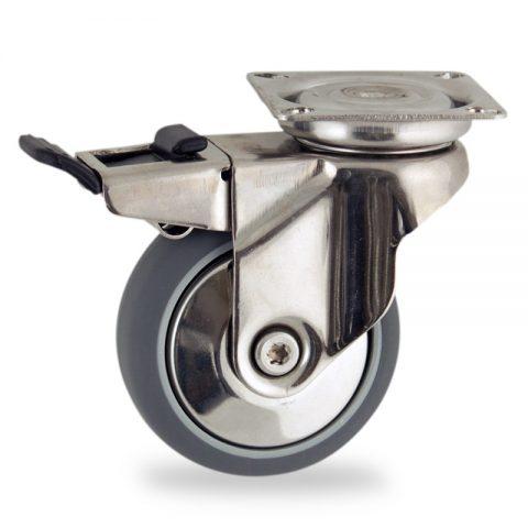 Edelstahl lenkrolle mit totalfeststeller 100mm für lichtwagen,rader aus grau thermoplasticher gummi,gleitlager.Montage mit platte