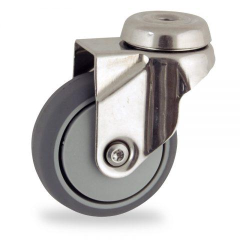 Edelstahl lenkrolle 75mm für lichtwagen,rader aus grau thermoplasticher gummi,gleitlager.Montage mit rückenloch