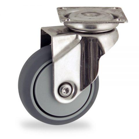 Edelstahl lenkrolle 50mm für lichtwagen,rader aus grau thermoplasticher gummi,prazisionskugellager.Montage mit platte