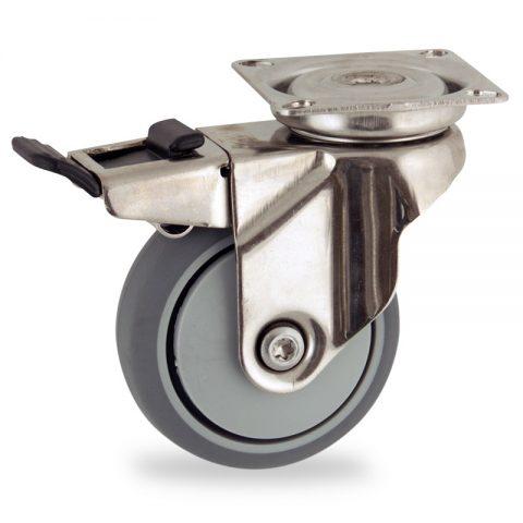Edelstahl lenkrolle mit totalfeststeller 50mm für lichtwagen,rader aus grau thermoplasticher gummi,prazisionskugellager.Montage mit platte