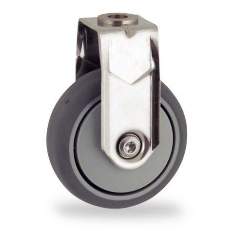 Edelstahl bockrolle 75mm für lichtwagen,rader aus grau thermoplasticher gummi,gleitlager.Montage mit rückenloch