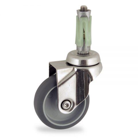 Edelstahl lenkrolle 100mm für lichtwagen,rader aus grau thermoplasticher gummi,konuskugellager.Montage mit runde expander 26/30