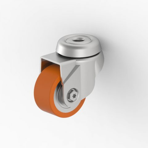 Stahlblech lenkrolle 50mm für lichtwagen,rader aus polyurethane,konuskugellager.Montage mit rückenloch