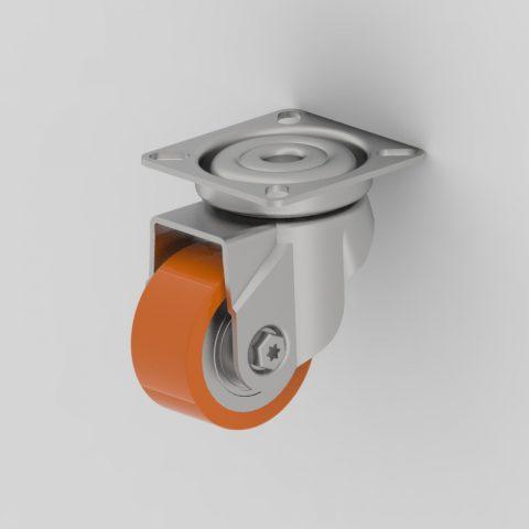 Stahlblech lenkrolle 50mm für lichtwagen,rader aus polyurethane,konuskugellager.Montage mit platte